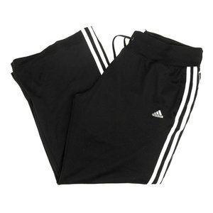 Adidas Pants Crop Loose 3 Striped Side Mesh Black